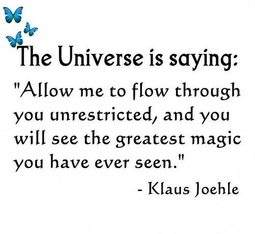 "The Universe is saying: ""Allow me to flow through you unrestricted, and you will see the greatest magic you have ever seen."" ~Klaus Joehle ....and in this same spirit: go with the flow of your life, look for synchronicity, look for patterns, reoccurring themes, notice when your spirit says ""a-ha"", & take time to listen to your subtle voice within. much love. <3 ~S"