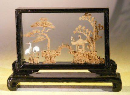 Handmade Cork Carving Encased in Glass In Wooden Display Case