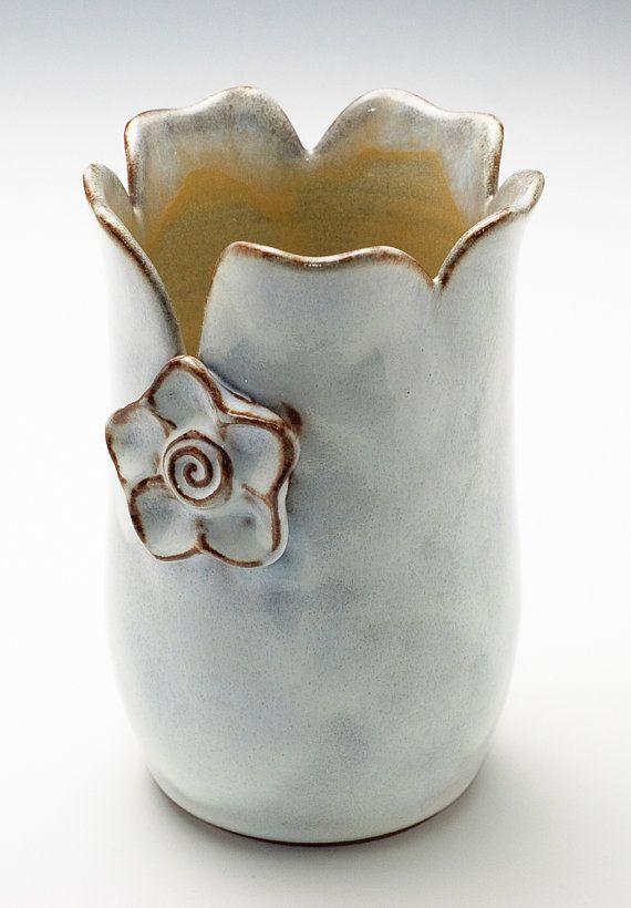 Cloudy White pottery Flower vase // etsy