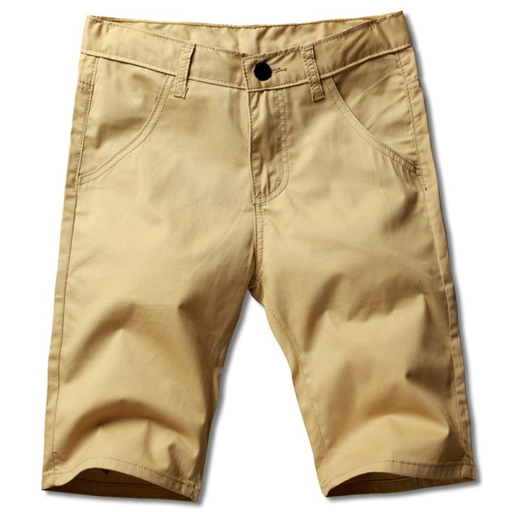 Knee Length Men's solid color cotton casual shorts  New summer Male slim short pants 28-38