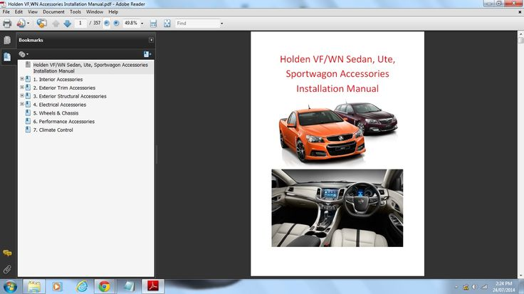 Holden VF/WN & HSV Accessories Installation Manual (included with the workshop manual