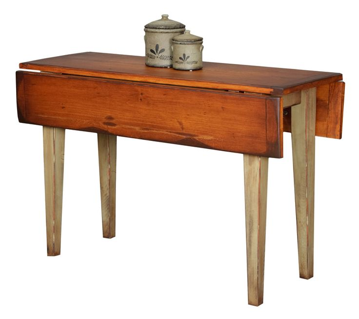 "This narrow farmhouse drop leaf table is perfect of small spaces, closed its only 18"". Once opened it comfortable seats four. Customizable. Made in the USA!"