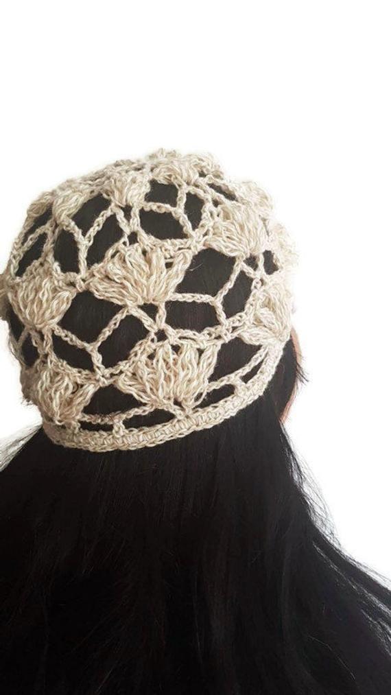 Beige skull cap, neutral slouch hat, lace beanie, women summer hat –