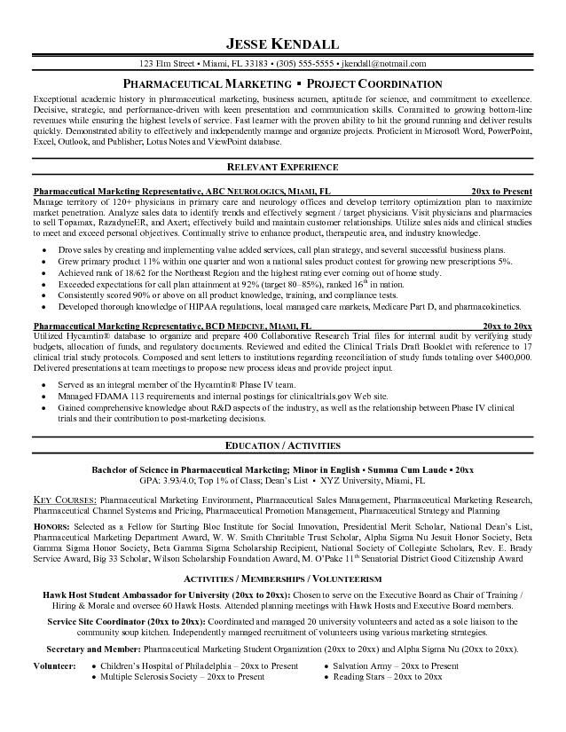 Pharmaceutical representative resume sales