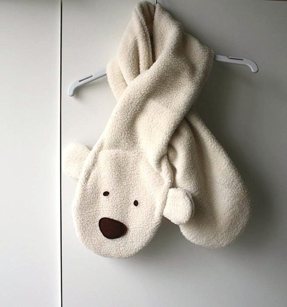 Is this cute or what?  Childrens scarf Polar Bear  Kids fleece scarf  by FunCreationslab, $24.00