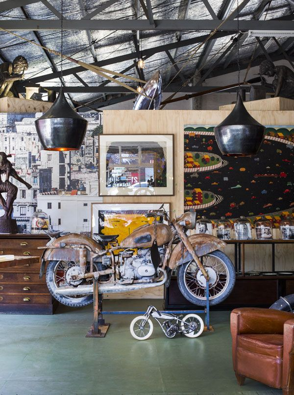 The newest project from David and Yuge Bromley is In This Street - a motorbike shop with a difference!  Motorbikes are displayed alongside David Bromley's artworks, Yuge's fashion range and various vintage collectibles and antiques sourced by this creative pair.  The Design Files