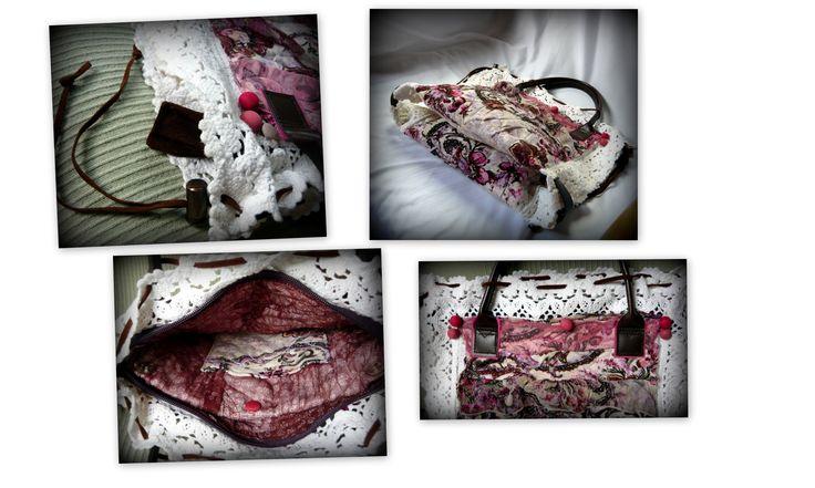 Handmade by Judy Majoros - Crochet handbag. Recycled bag. pink-white