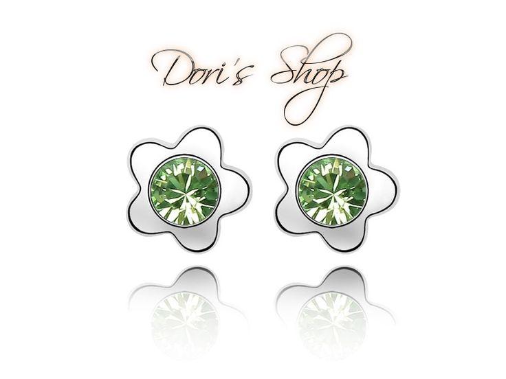 Zöld kristály fülbevaló