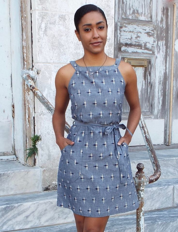 You will fall in love with our Chambray Ikat, which feels as luxurious as it looks. This sleeveless shift dress features a beautiful bright blue ikat fabric, darts in the front and back, a fabric belt