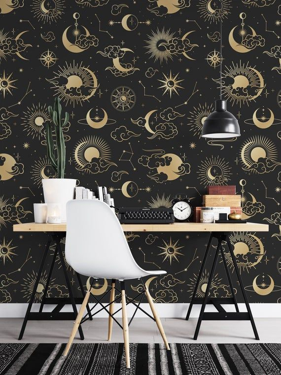 Removable Wallpaper Seamless Moon Temporary Wallpaper Etsy Removable Wallpaper Peel And Stick Wallpaper Temporary Wallpaper