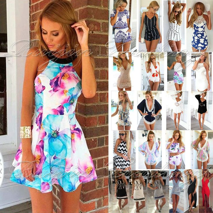 UK Womens Holiday Mini Playsuit Ladies Jumpsuit Summer Beach Dress Size 6 - 14 in Clothes, Shoes & Accessories, Women's Clothing, Dresses | eBay!