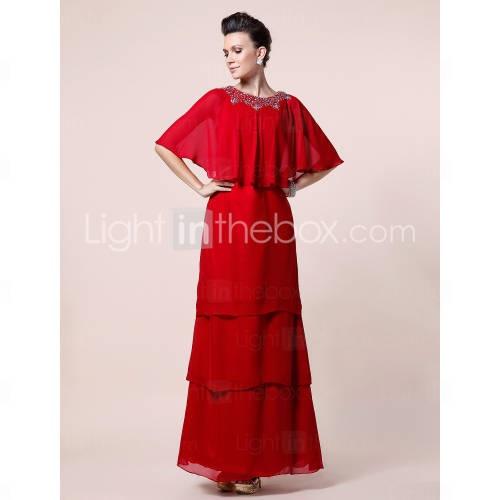 A-line Scoop Half Sleeve Floor-length Chiffon Mother of the Bride Dress