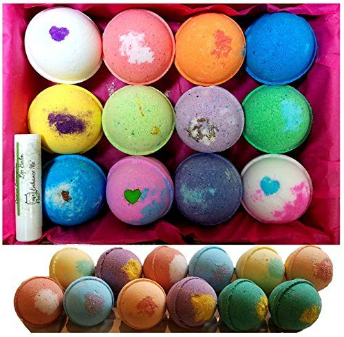 Bath Bombs Mothers Day 12 Vegan Gift Set w/Free Lip Balm Organic Coconut Oil & Aromatherapy Essential Oils Cruelty Free PABA Free Handmade in the USA