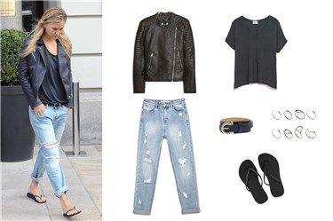Copia el look motero de Bar Rafaeli con chaqueta de cuero y jeans boyfriend por menos de 120 euros