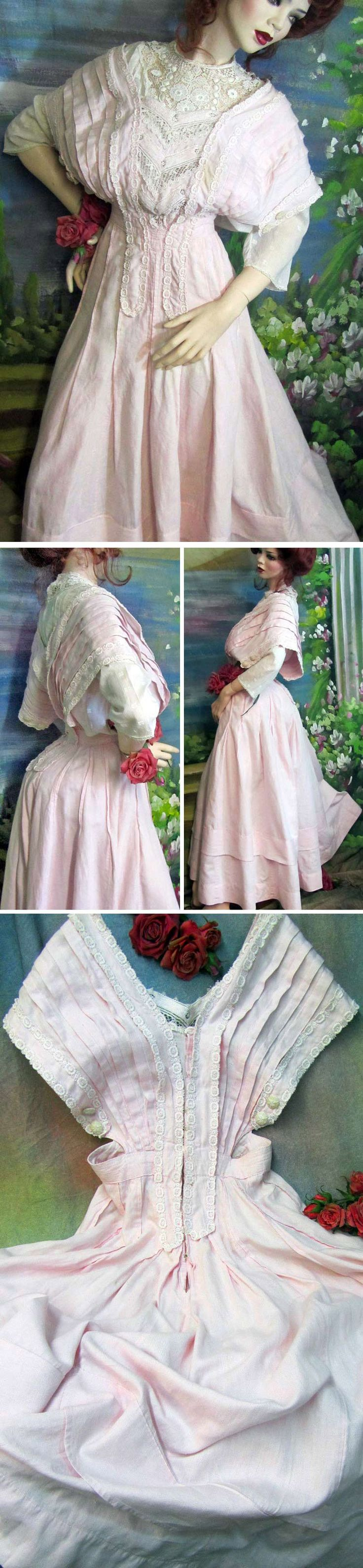 Day dress ca. 1900s or 1910s. Light pink linen trimmed with cotton lace & crocheted lace. Blouse underneath is not original. Seller thinks it's a Victorian bustle dress and that women capered around like flappers at that time (to judge from the way she posed her mannequin). Reflectionsdru/ebay