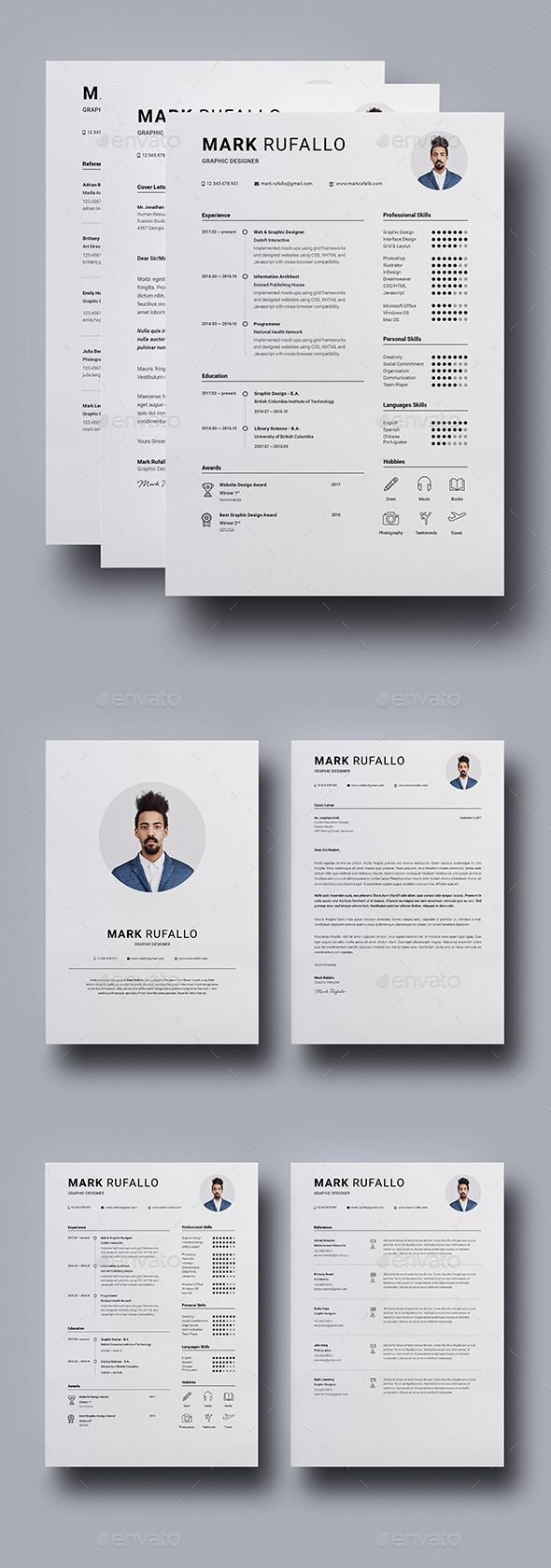 Resume / CV Template InDesign INDD - A4 and Letter Size