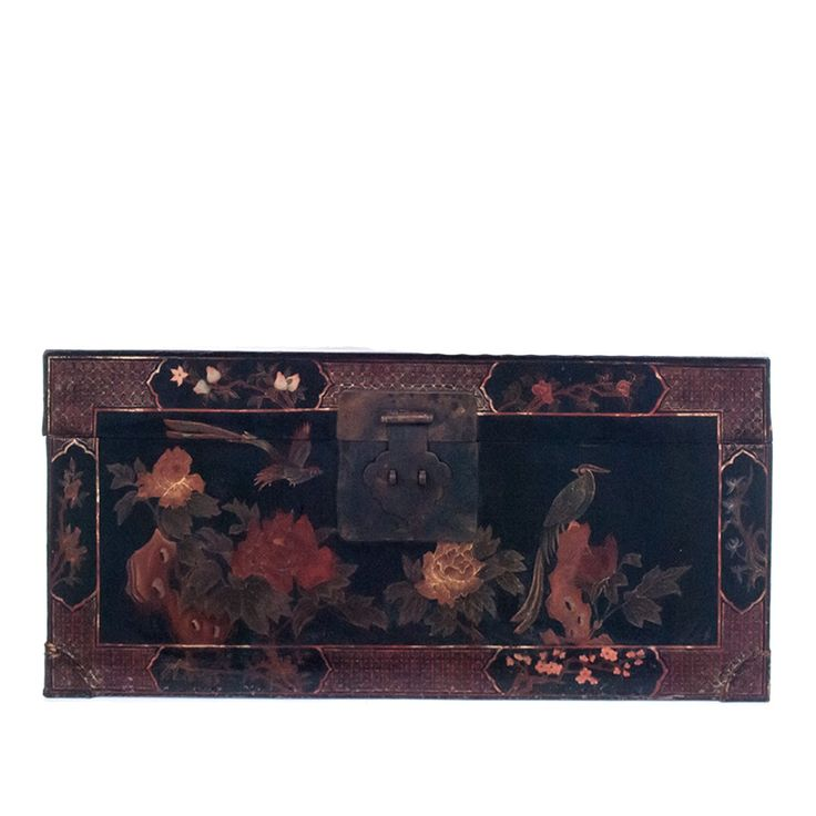Vintage Asian Trunk Black Lacquer Decorative Trunk /  Coffee Table at DecorNYC