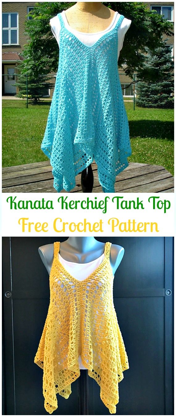 Crochet Kanata Kerchief Tank Top Free Pattern - Crochet Women Sweater Pullover Top Free Patterns