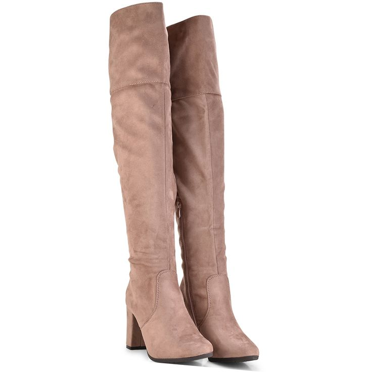 Pink suede over the knee boot Lets Walk JN77-05