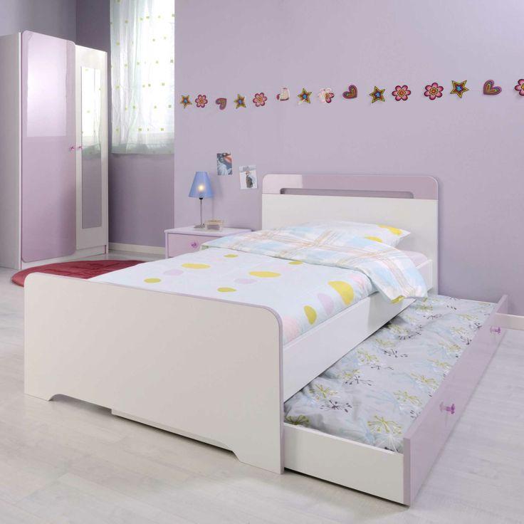 Ensemble lit enfant 90x190cm + tiroir de lit en bois