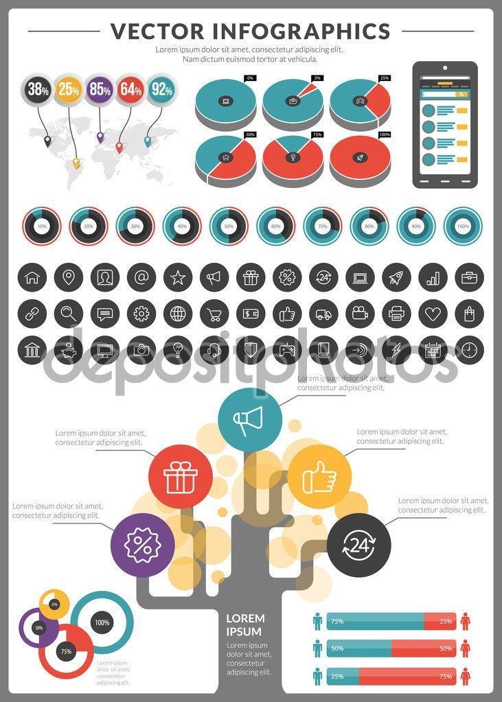 Grande pacote de visualização de dados vetoriais infográficos e elementos com bar de negócios, gráficos, gráfico, diagramas e ícone definido para brochuras, folhetos e sites de design - Ilustração de Stock: 60802065