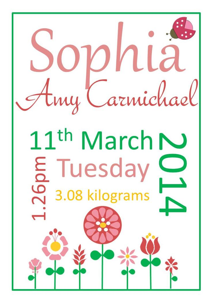 Personalised baby girl posters for your baby's nursery or as a personalised baby gift- Spring Blooms.