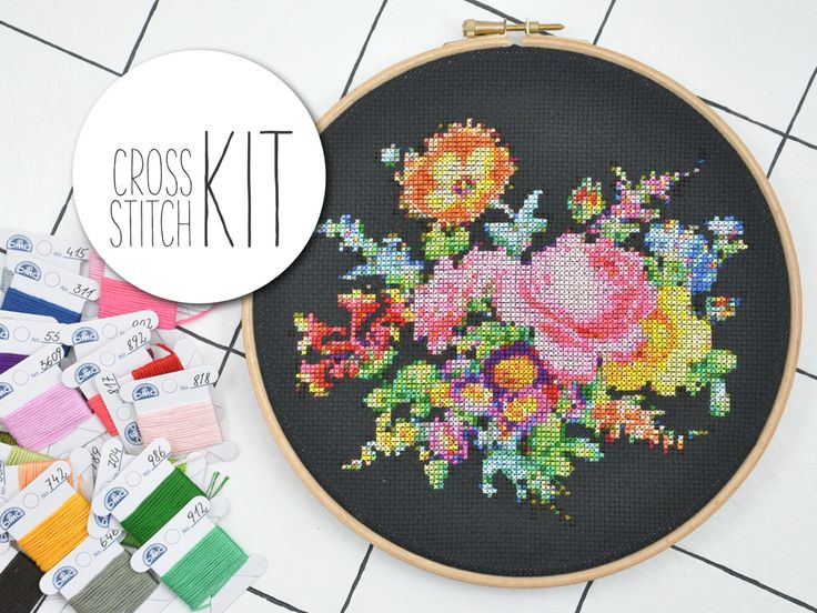 BOUQUET OF FLOWERS - victorian cross stitch kit floral 25 colors - complete craft kit with supplies, counted embroidery pattern instructions from hallodribums on Etsy Studio