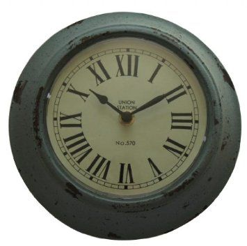 Distressed Duck Egg Blue Wall Clock Co Uk Kitchen Home