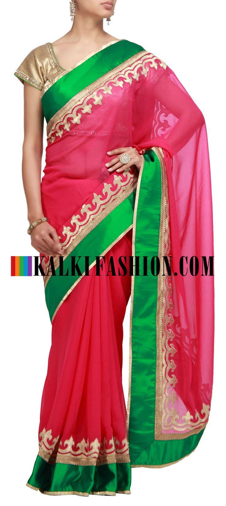 Buy it now  http://www.kalkifashion.com/pink-saree-with-applique-work.html  Pink saree with applique work