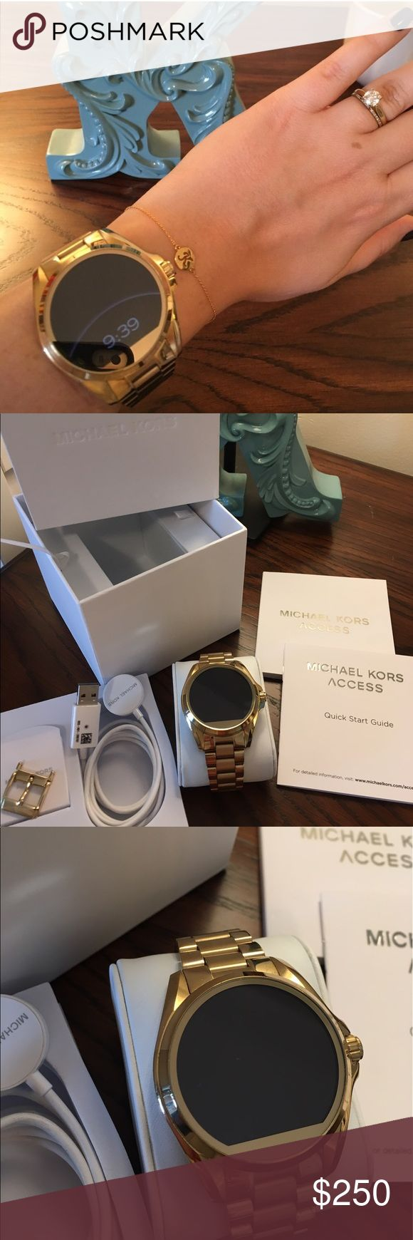Michael Kors Access Smartwatch Gold Bradshaw I decided to get an Apple Watch instead. This watch is in excellent used condition. I used it for a few months and got tons and tons of compliments. Works best with Android phones but will work with iOS also. Way more stylish than your average smartwatch!! Includes charger, box, extra clasp, all links, and manuals. Michael Kors Accessories Watches
