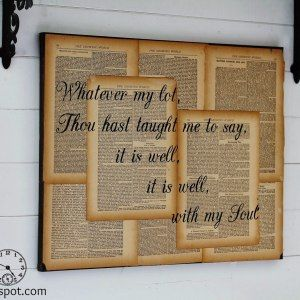 http://knickoftime.net/2014/02/repurposed-book-page-canvas-hymn-art.html