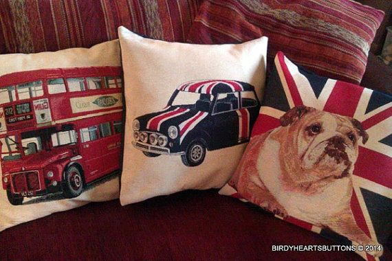 Patriotic british cushion covers by Birdyheartsbuttons on Etsy, £17.50