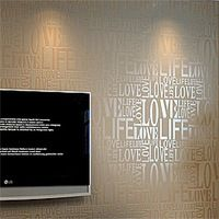 Brown / Gray / Pink / Beige / White Flock Words Textured Letters wallpaper Embossed wall paper wall covering ,of wall paper ,WP9