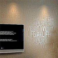 Коричневый / серый / розовый / бежевый / белый флок слова текстурированные буквы обои тисненые обои облицовке стен WP059