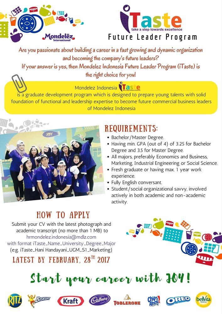 JOIN! Future Leader Program from Mondelez Indonesia for Bachelor/Master Degree >> http://bit.ly/2jDDTP0 DEADLINE: 28 February 2017 #itbcc #karirITB
