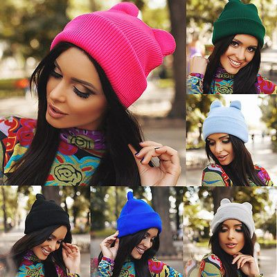 Unisex Beanie Women Mens Knitted Knit Warm Ski Crochet Slouch Hat Cap Cat Ear