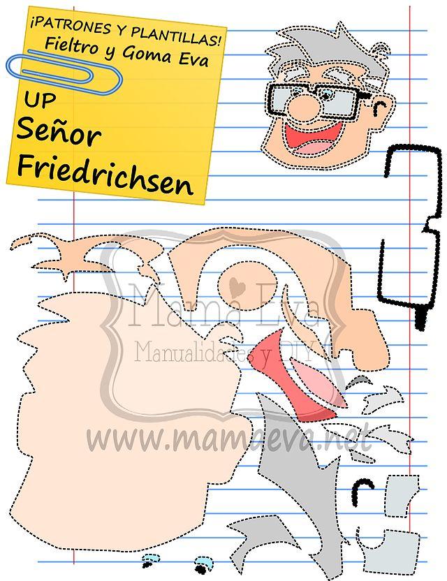 Descarga gratis nuestras plantillas para goma eva y fieltro de tus personajes de Disney favoritos: ussell, el Señor Friedrichsen, Kevin...