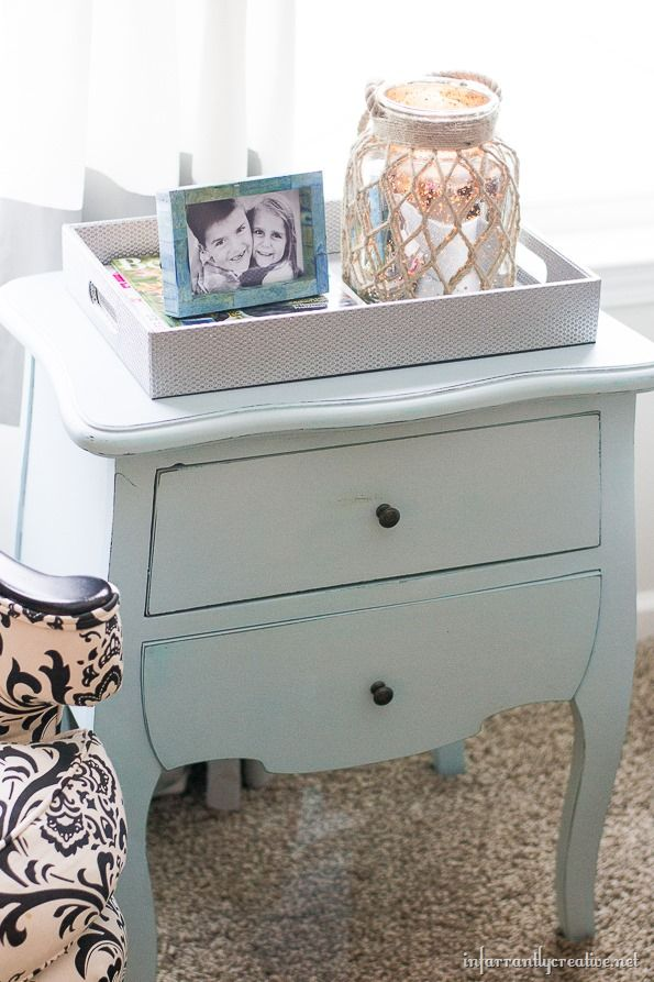 Check out this blue painted table for a great tip on getting the look of chalk paint without actually using chalk paint!