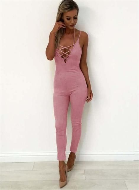 114cdbb645a7 Sexy Women Lace up Bandage Playsuit Bodycon Party Jumpsuit Romper Sexy  Summerliilgal Long Jumpsuits