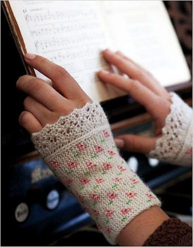 Knitting pattern for Flower and Lace Cuffs. The basic pattern is garter stitch but I love the romantic touches of the beads  and lace edging