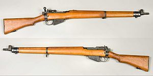 The Lee-Enfield bolt-action, magazine-fed, repeating rifle was the main firearm used by the military forces of the British Empire and Commonwealth during the first half of the 20th century. It was the British Army's standard rifle from its official adoption in 1895 until 1957.[