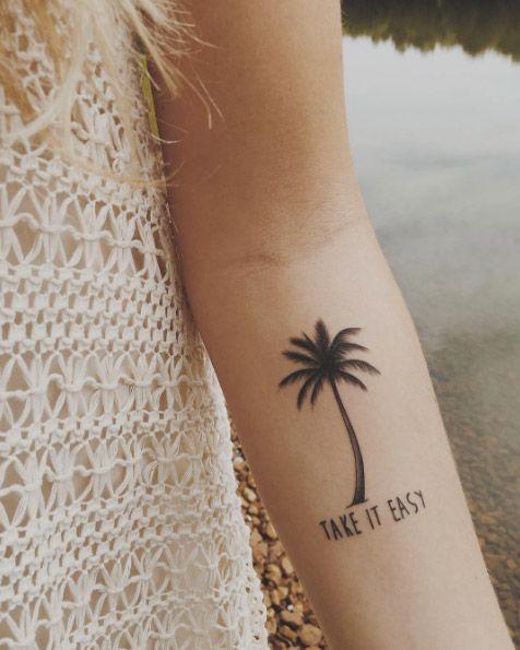 'Take it easy' palm tree tattoo via Madison Hudson