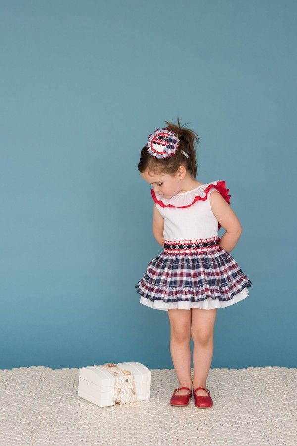 67b2143cb Vestido cuadros marino para niña de Dolce Petit