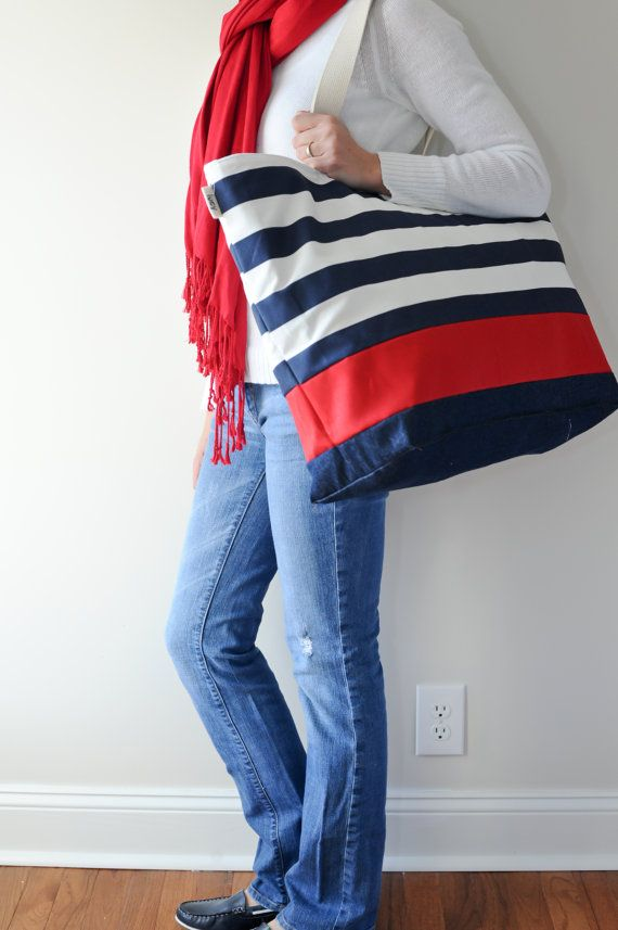 Extra Large Beach Bag Tote In Navy Horizontal Stripes With Red Stripe And Indigo