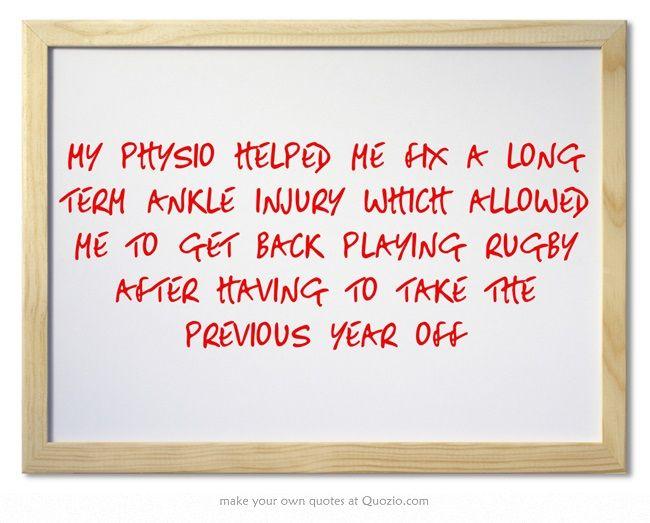 - Kane. (Physio, Mike Wheeler, Cape Physio, Dunedin)