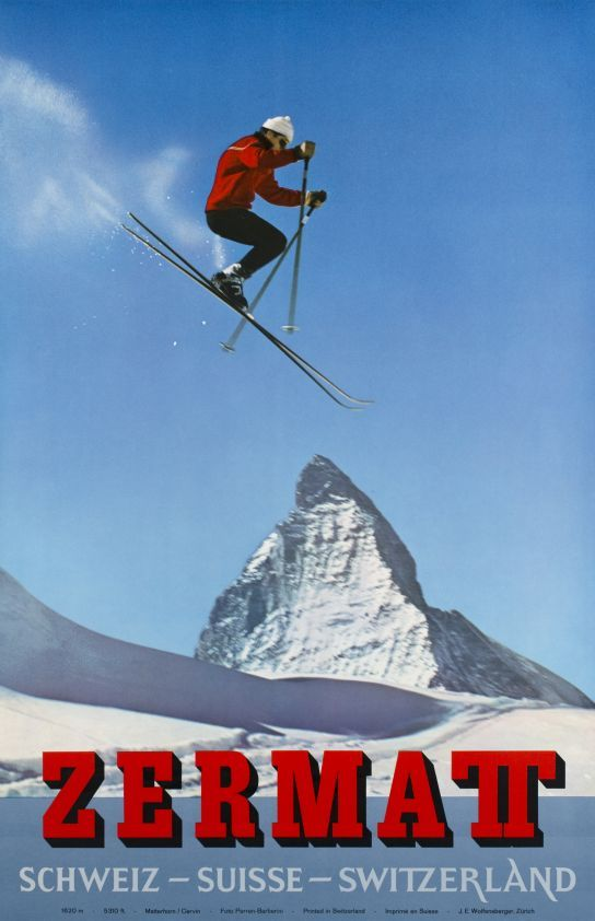"Zermatt, Schweiz Suisse Switzerland (Perren - Barberini Photographers / 1965) Perfect ""obstracken"" skiing-jump in front of the Matterhorn mountain over Zermatt, one of the best skiing resorts of Switzerland. In French, this iconic mountain is called the ""Cervin"". The jumper is ""Simi Biner"", a ski instructor from Zermatt."