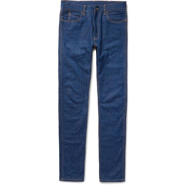 Gucci Slim-Fit Denim Jeans (3,210 MYR) via Polyvore featuring men's fashion, men's clothing, men's jeans, jeans/khakis, blue, mens blue jeans, mens slim cut jeans, mens patched jeans, mens khaki jeans and gucci mens jeans