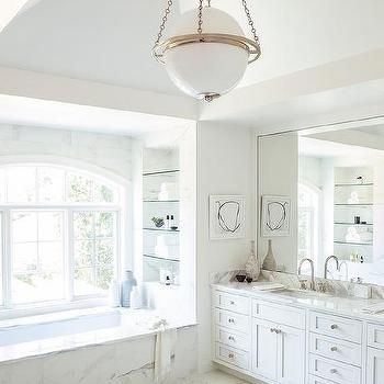 Chic Bathroom Features A Modern Globe Pendant Illuminating White Dual Washstand Topped With Gray And Marble Under Full Length Mirror Master