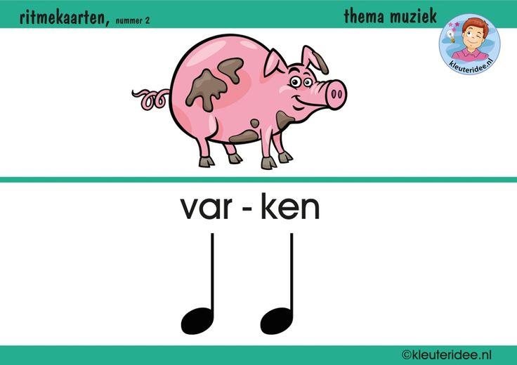 Ritmekaart voor kleuters 2 varken, thema muziek, met lesideeën opkleuteridee, free printable