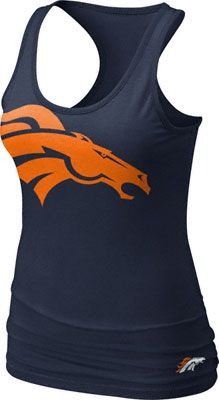 Image for Denver Broncos Women's Navy Nike Big Logo Tri-Blend Tank Top from Scheels